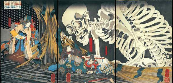 歌川国芳「相馬の古内裏」大判錦絵三枚続 弘化(1844-48)頃 個人蔵