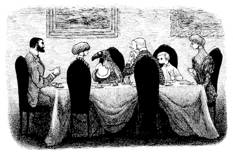 『うろんな客』原画、1957年 © 2010 The Edward Gorey Charitable Trust