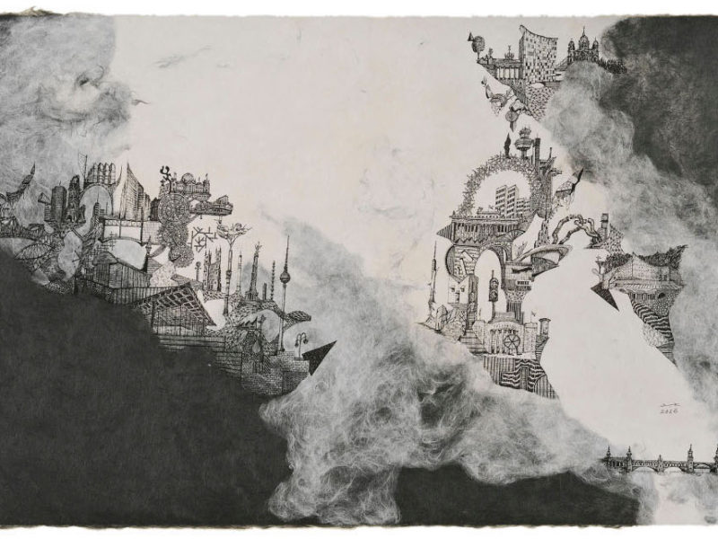 「Berlin」2016(ink on Japanese Paper 45cm×90cm) Yusuke Koshima