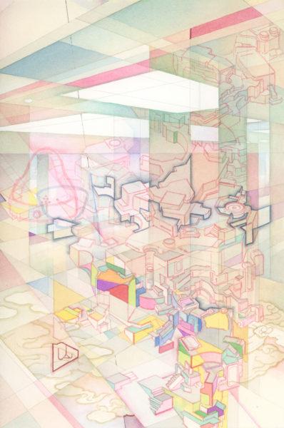 室町バイブレーション(2016年個展DMのための原画) 2016 紙に鉛筆、ペン、水彩 28.8 x 19.2 cm ©YAMAGUCHI Akira, Courtesy Mizuma Art Gallery