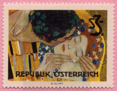 グスタフ・クリムトの絵画「接吻」からデザインされたオーストリアの切手(1964年発行)