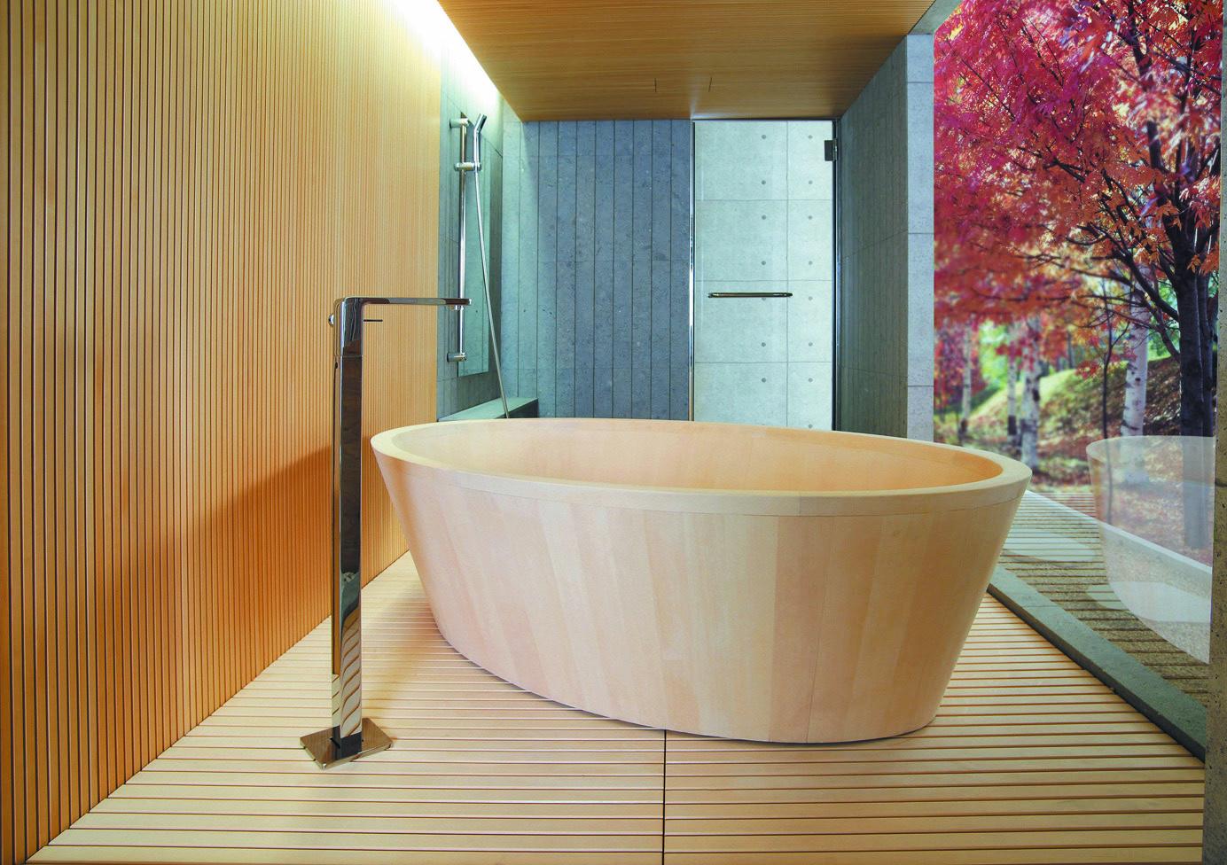 檜の香りと手ざわり、優美な曲線 檜のお風呂「O-Bath(オーバス)」