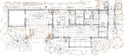 阿部勤さんによる松居さんの家の手描き図面