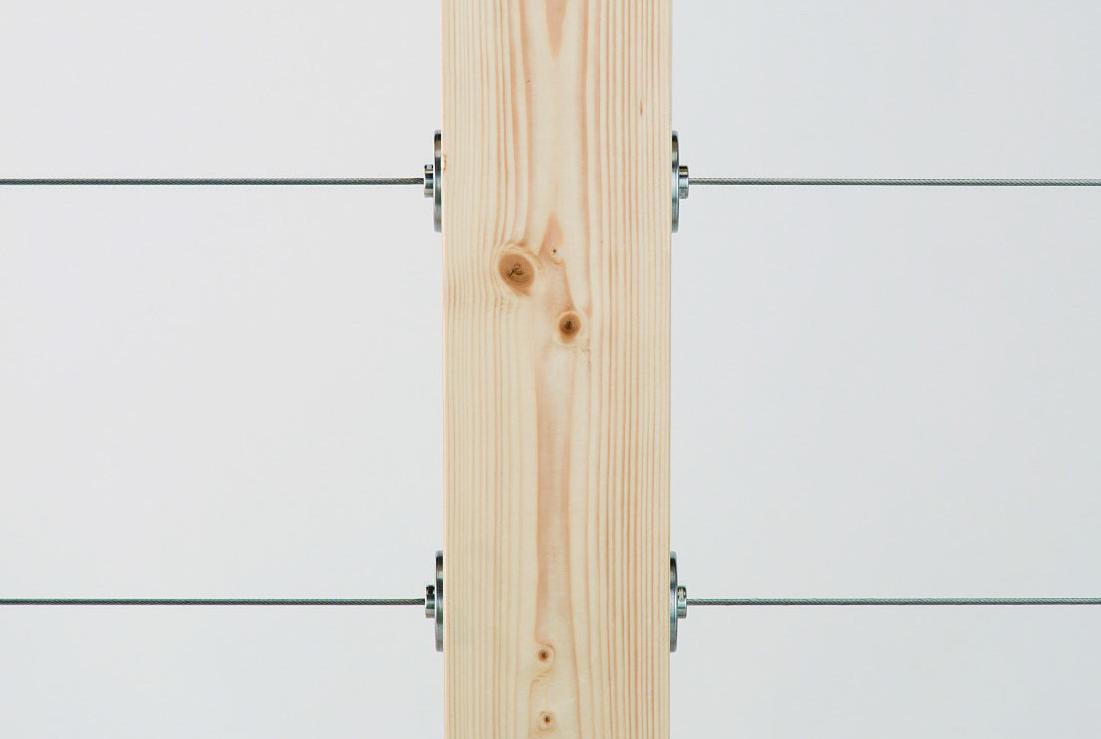 視界の邪魔にならない木材取付け専用ワイヤー手すり ウッドテンショナー