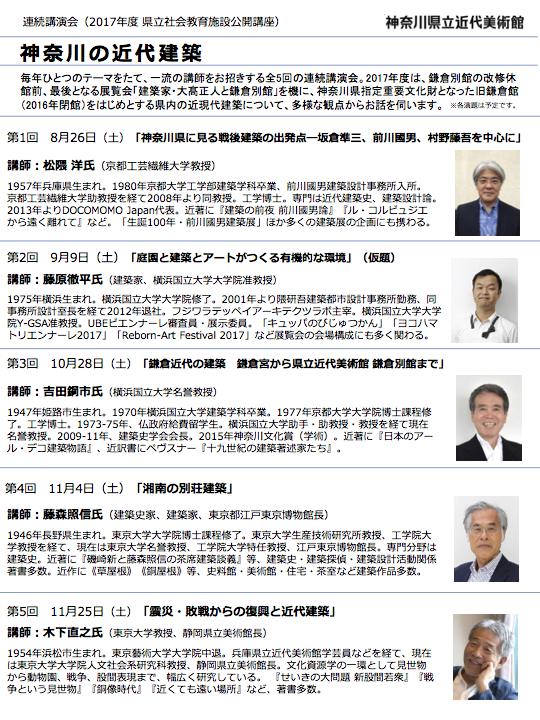 連続講演会「神奈川の近代建築」(全5回)