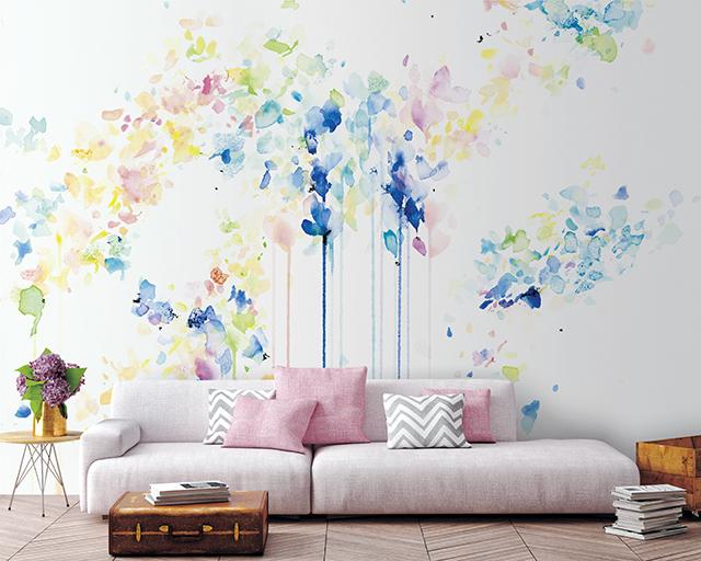 【FOCUS 3/7 水彩画のようなデジタルプリント壁紙】
