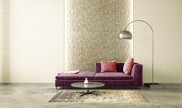 陰影と素材感のあるデザインで壁面にアクセントを 深彫調不燃壁材「GRAVIO EDGE(クラビオエッジ)」