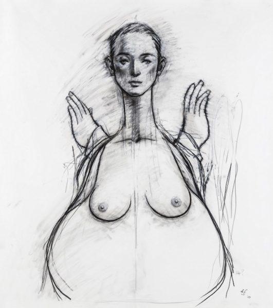 舟越桂 《「水に映る月蝕」のためのドローイング》 2003年 紙に鉛筆 作家蔵 撮影:今井智己