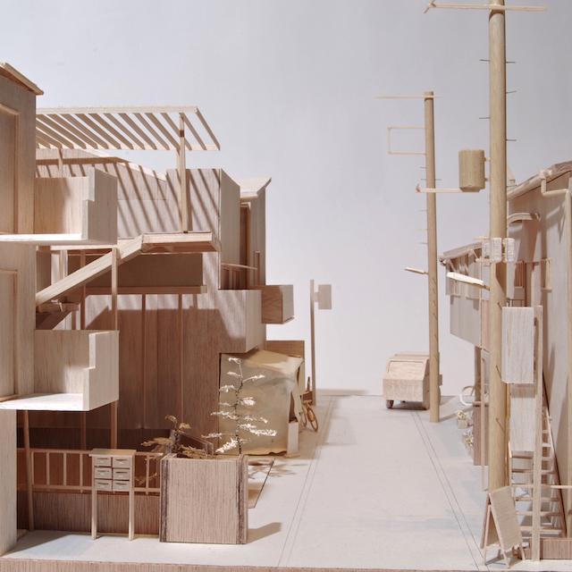 《丘端の家》街を含む敷地模型(S=1/30)©yujiharada