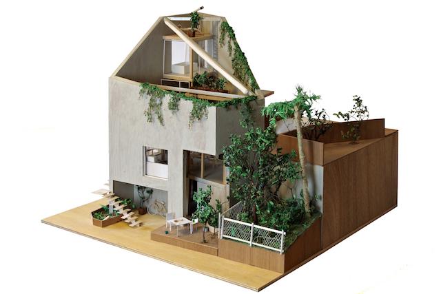 《SKIP ROOF》隣地の植物と庭の模型(S=1/20)©yujiharada